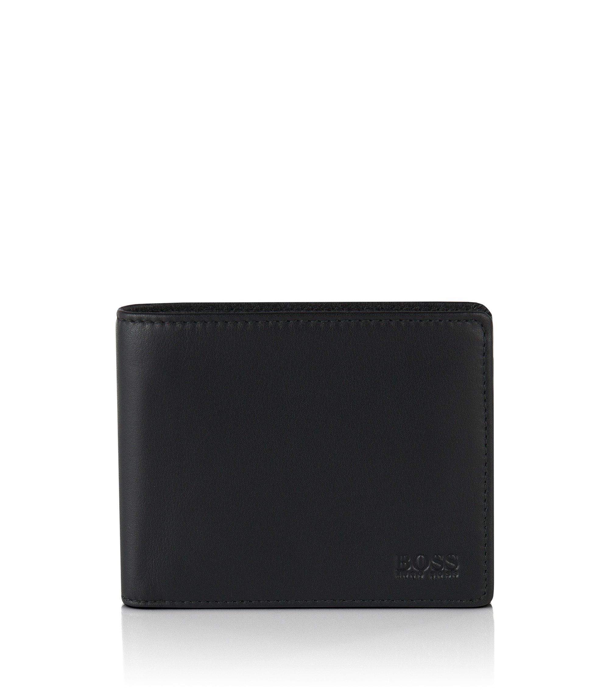 Folding wallet in smooth leather, Black