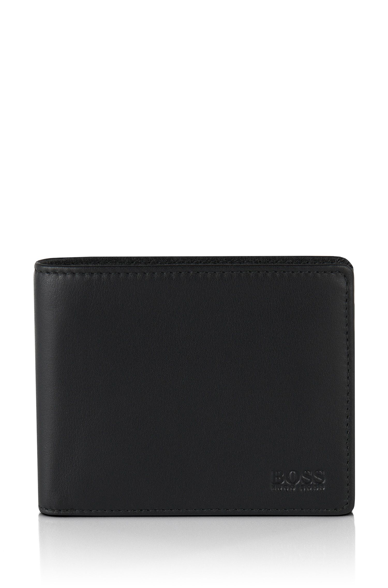 Folding wallet in smooth leather