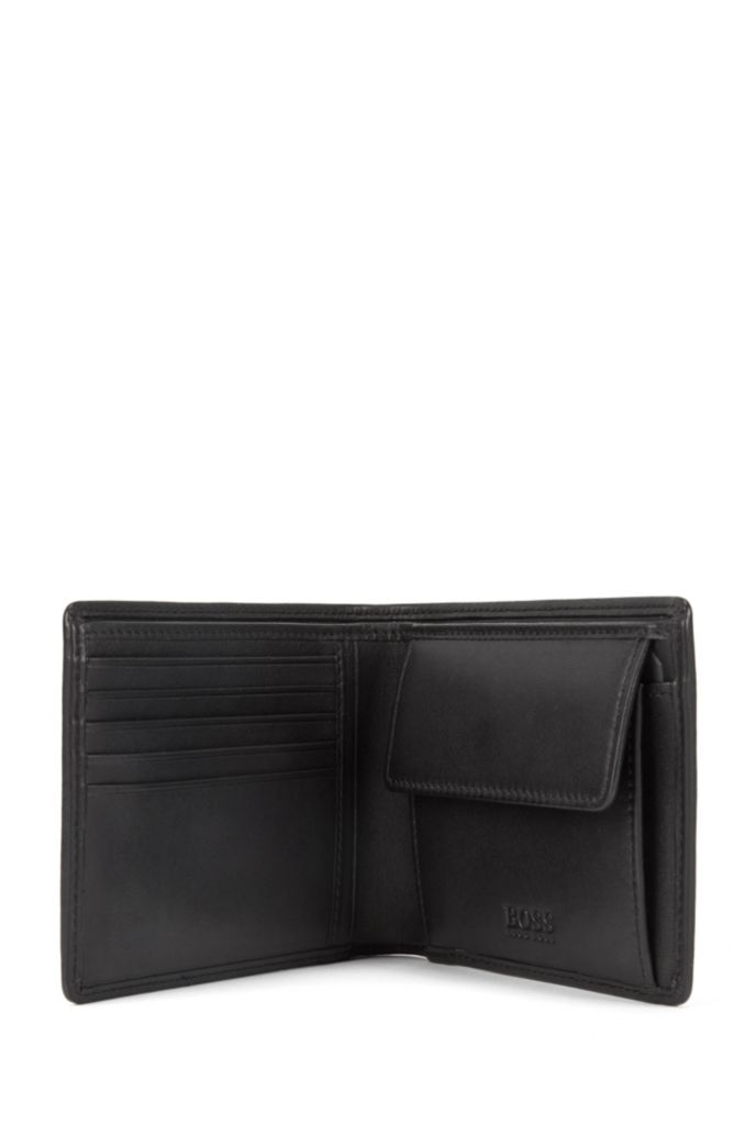 Billfold wallet in smooth leather with coin pocket