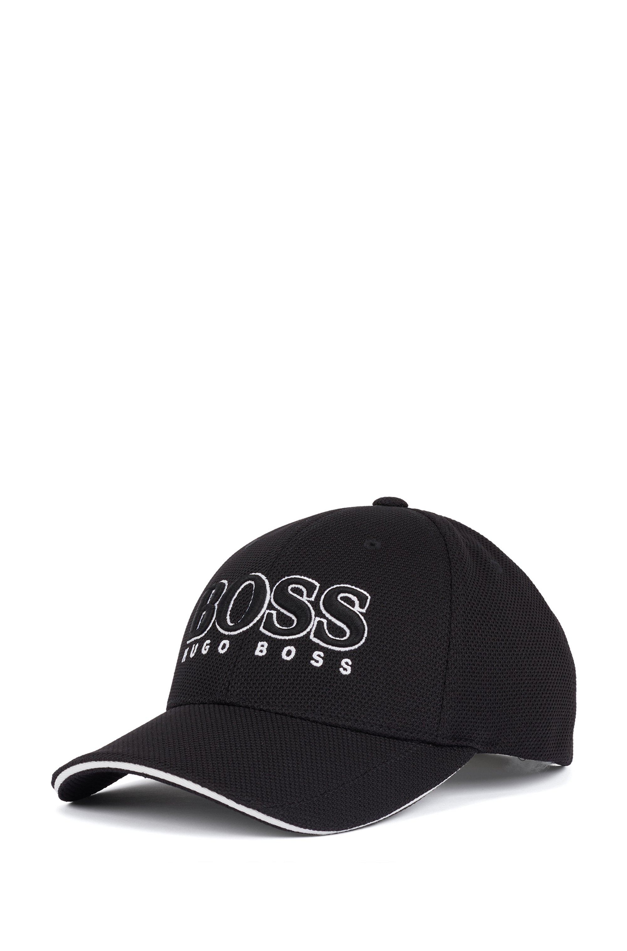 Logo-embroidered cap in stretch piqué, Black