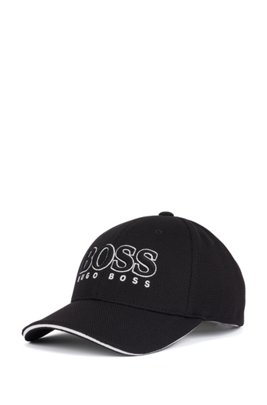 Logo-embroidered cap in stretch piqué, Black