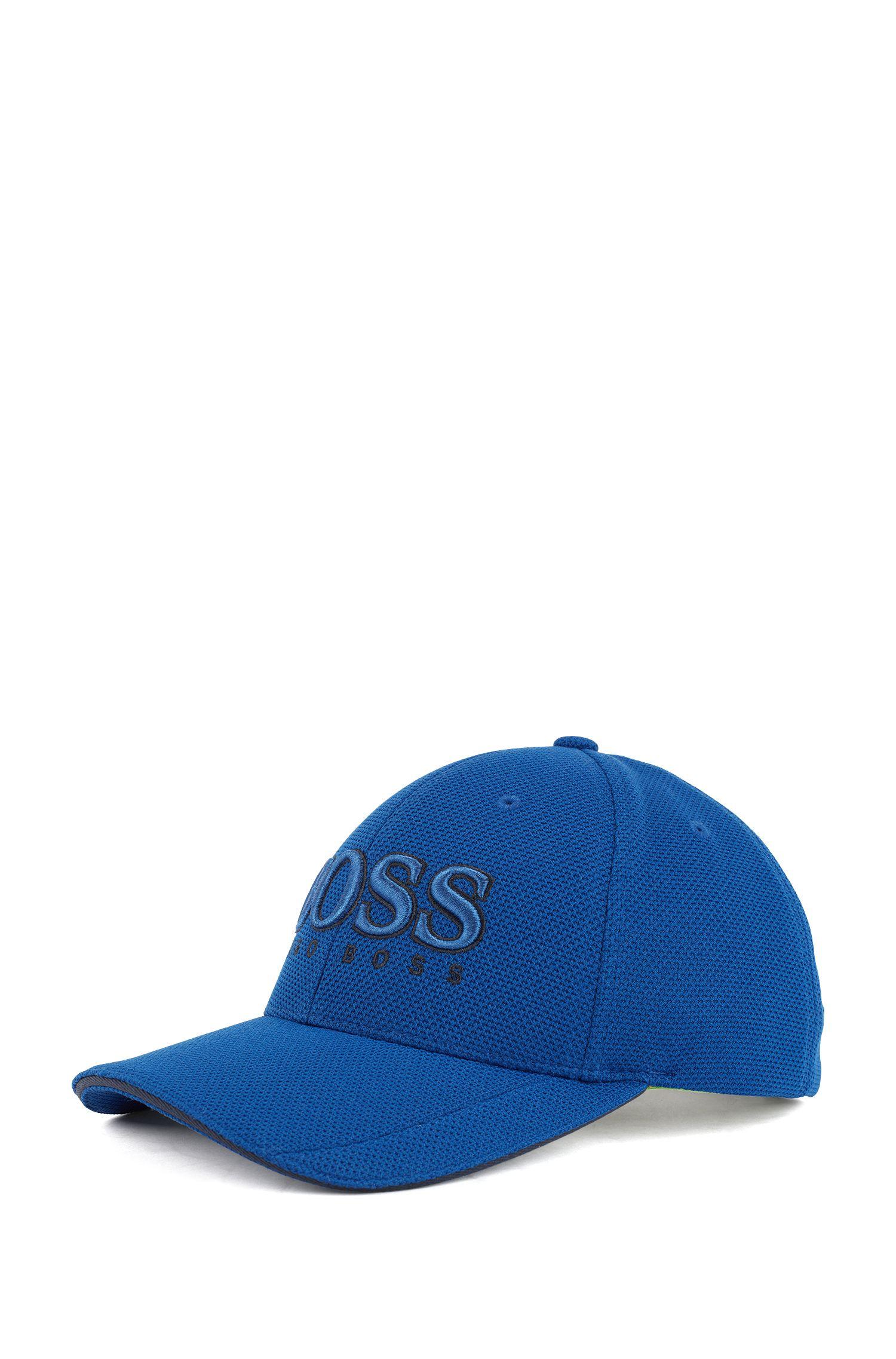 Cap aus Material-Mix, Blau
