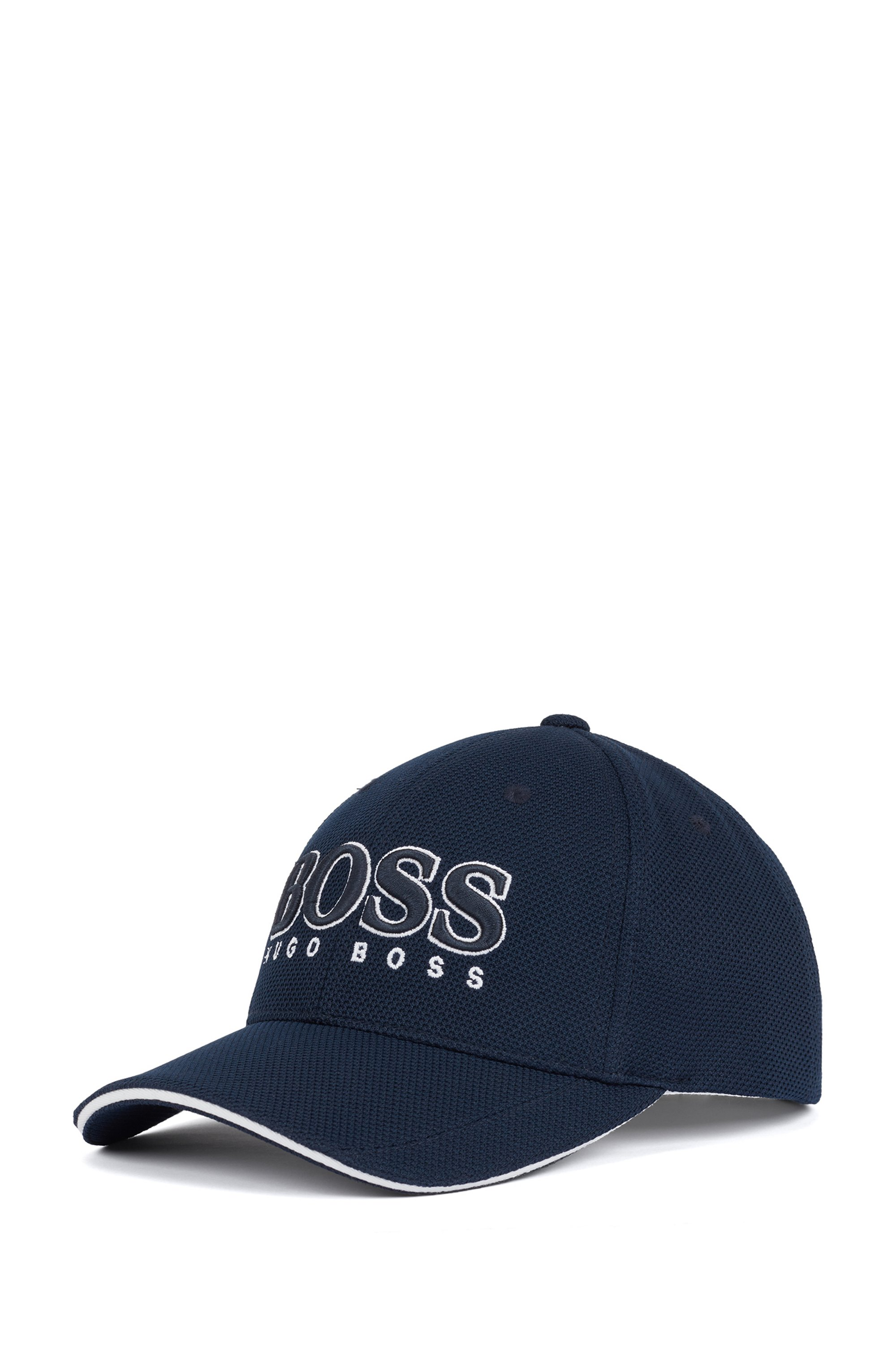 Logo-embroidered cap in stretch piqué, Dark Blue