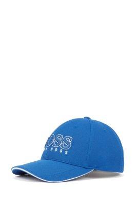 Logo-embroidered cap in stretch piqué, Blue