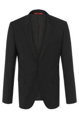 Veste de costume coupe Slim Fit en laine vierge: «AerinS», Noir