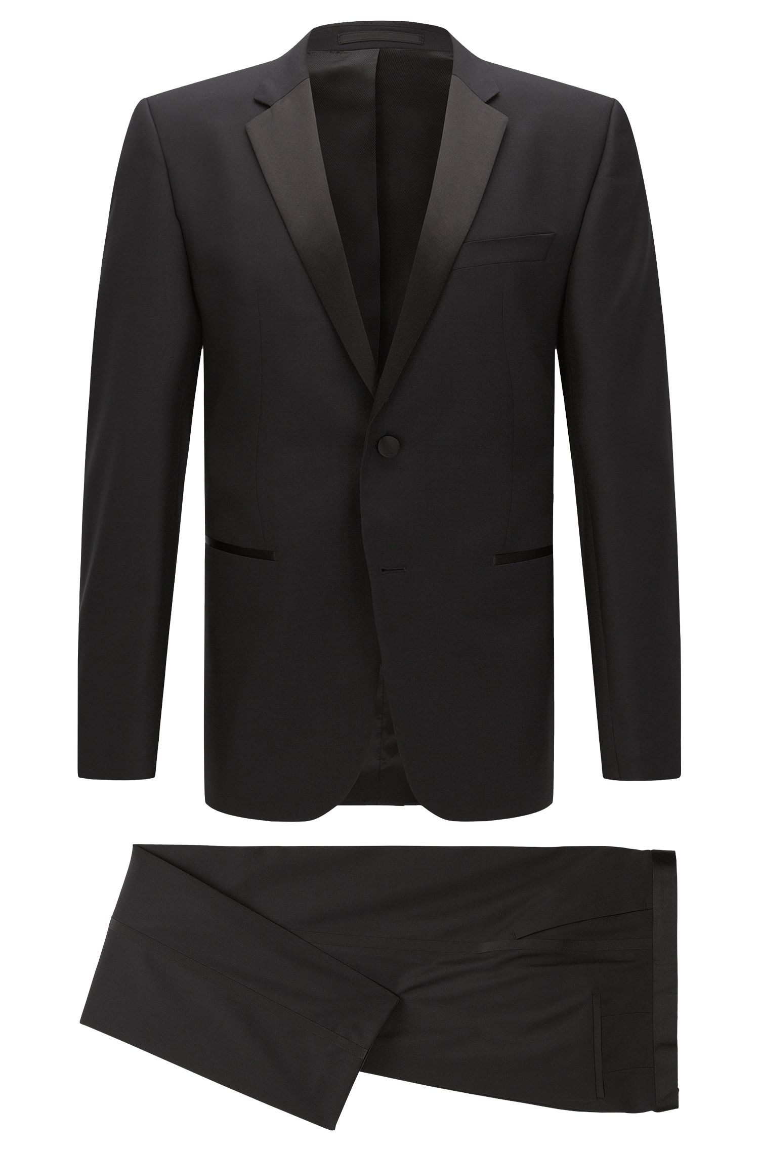 Regular-fit virgin wool tuxedo with silk detail