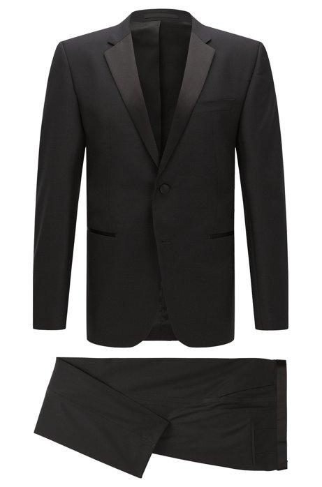 Regular-fit virgin wool tuxedo with silk detail, Black
