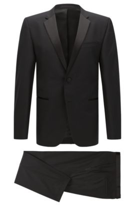 Regular-fit virgin wool tuxedo with silk detail, Black
