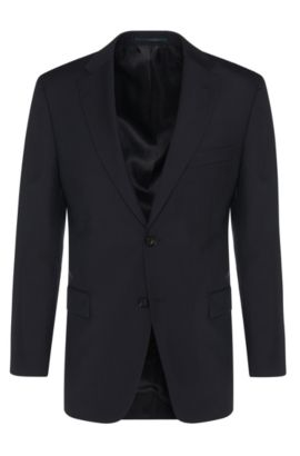 Comfort-fit jacket in pure new wool: 'Pacini', Dark Blue