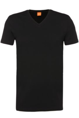 T-shirt uni en coton stretch, en lot de deux : « Tyll » , Noir