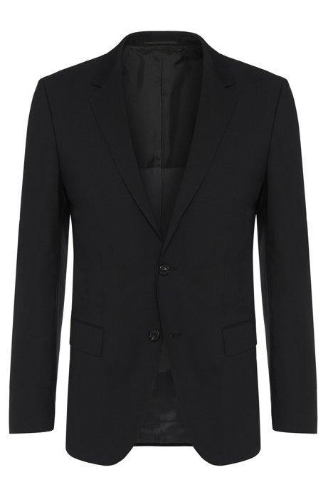 Slim-fit jacket in new-wool blend with elastane: 'Hayes', Black