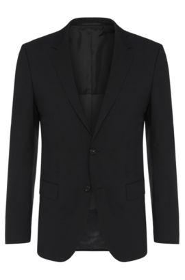 Veste de costume Slim Fit en laine vierge mélangée, avec de l'élasthanne: «Hayes», Noir