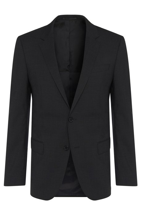 Slim-fit jacket in new-wool blend with elastane: 'Hayes', Dark Grey