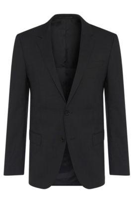 Giacca slim fit in misto lana vergine con elastan: 'Hayes', Grigio scuro