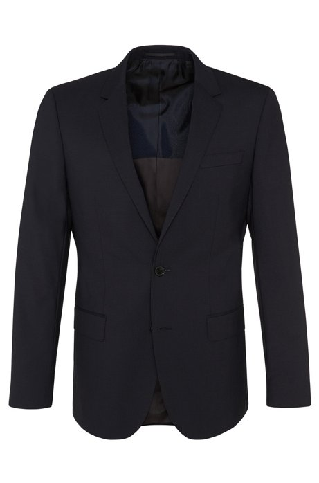 Slim-fit jacket in new-wool blend with elastane: 'Hayes', Dark Blue