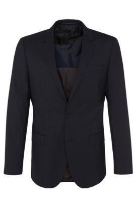 Americana slim fit en mezcla de lana virgen con elastano: 'Hayes', Azul oscuro