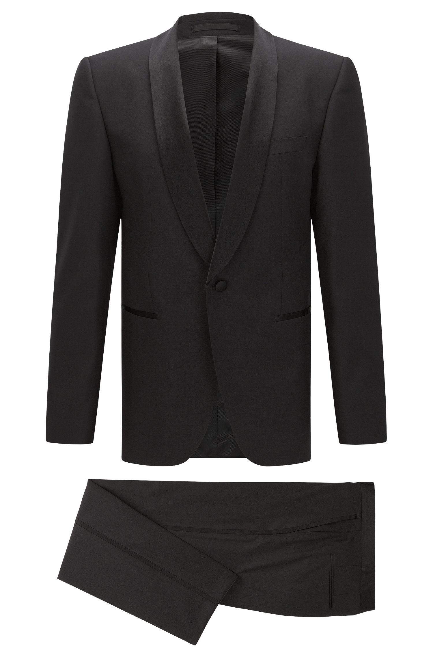 Regular-fit virgin wool tuxedo with silk trims