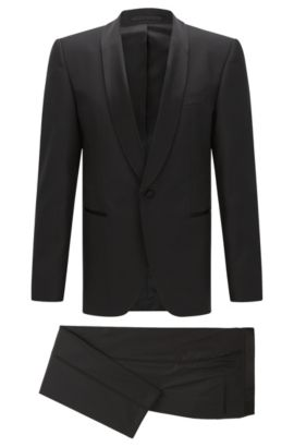 Regular-fit virgin wool tuxedo with silk trims, Black