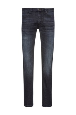 Slim-fit jeans in stone-washed stretch denim, Dark Blue