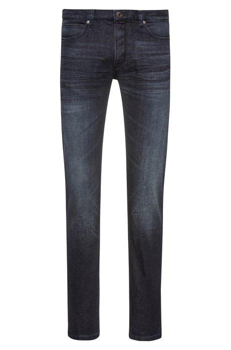 Slim-Fit Stone-washed Jeans aus Stretch-Denim, Dunkelblau