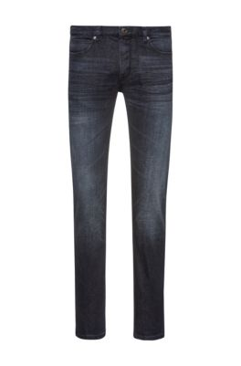 Slim-fit jeans in stone-washed stretch denim, Dark Blue