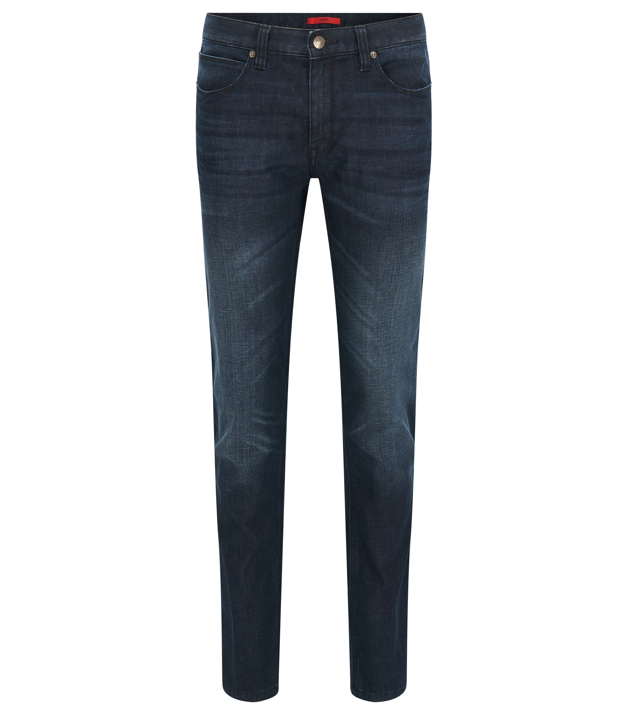 Slim-fit stonewashed jeans van stretchdenim van HUGO Man, Donkerblauw