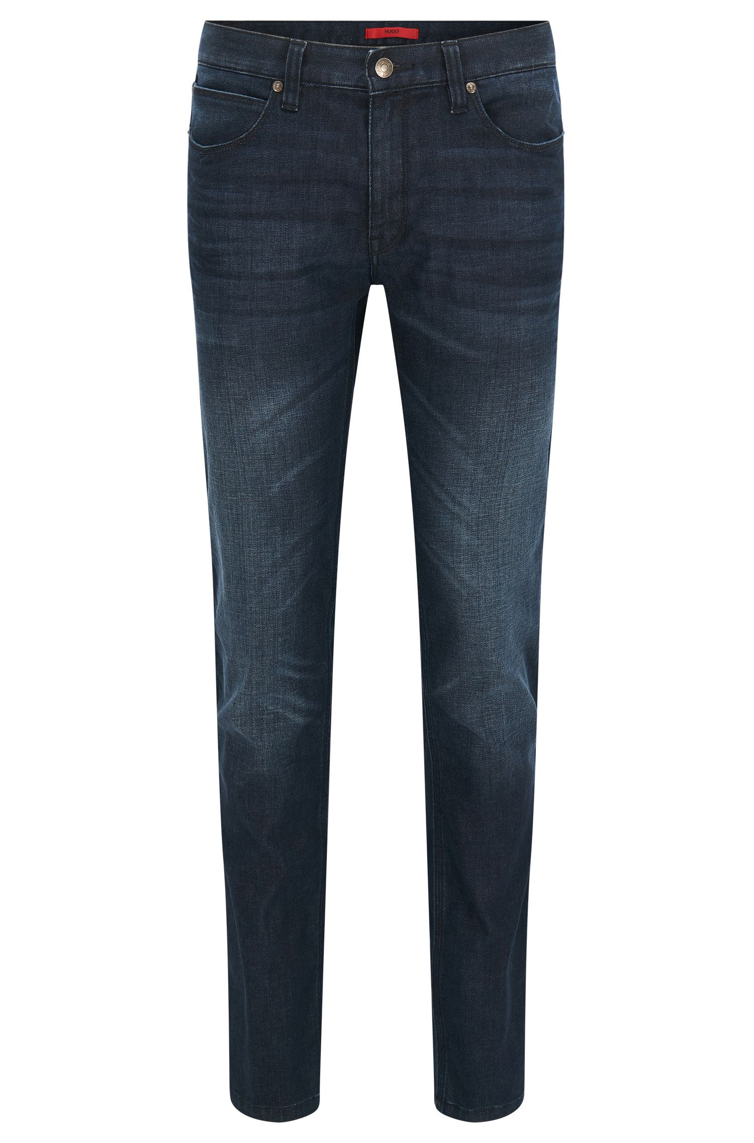 Jeans stone wash slim fit in denim elasticizzato by HUGO Uomo, Blu scuro