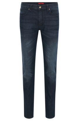 Slim-fit stone wash jeans in stretch denim by HUGO Man, Dark Blue