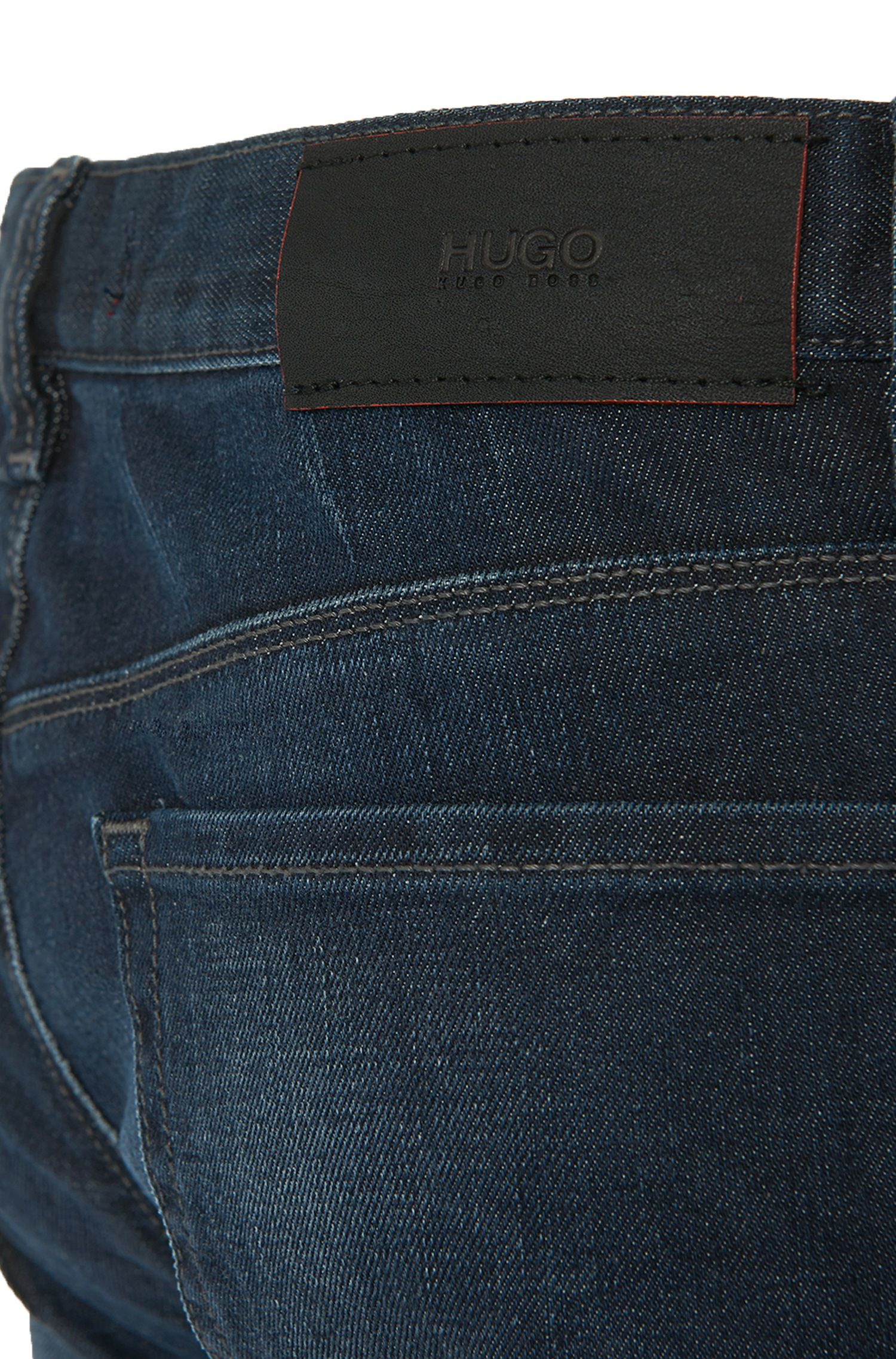 Jeans HUGO Homme Slim Fit en denim stretch Stone Wash, Bleu foncé
