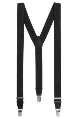 Bretelles à pinces avec empiècement en cuir, Noir