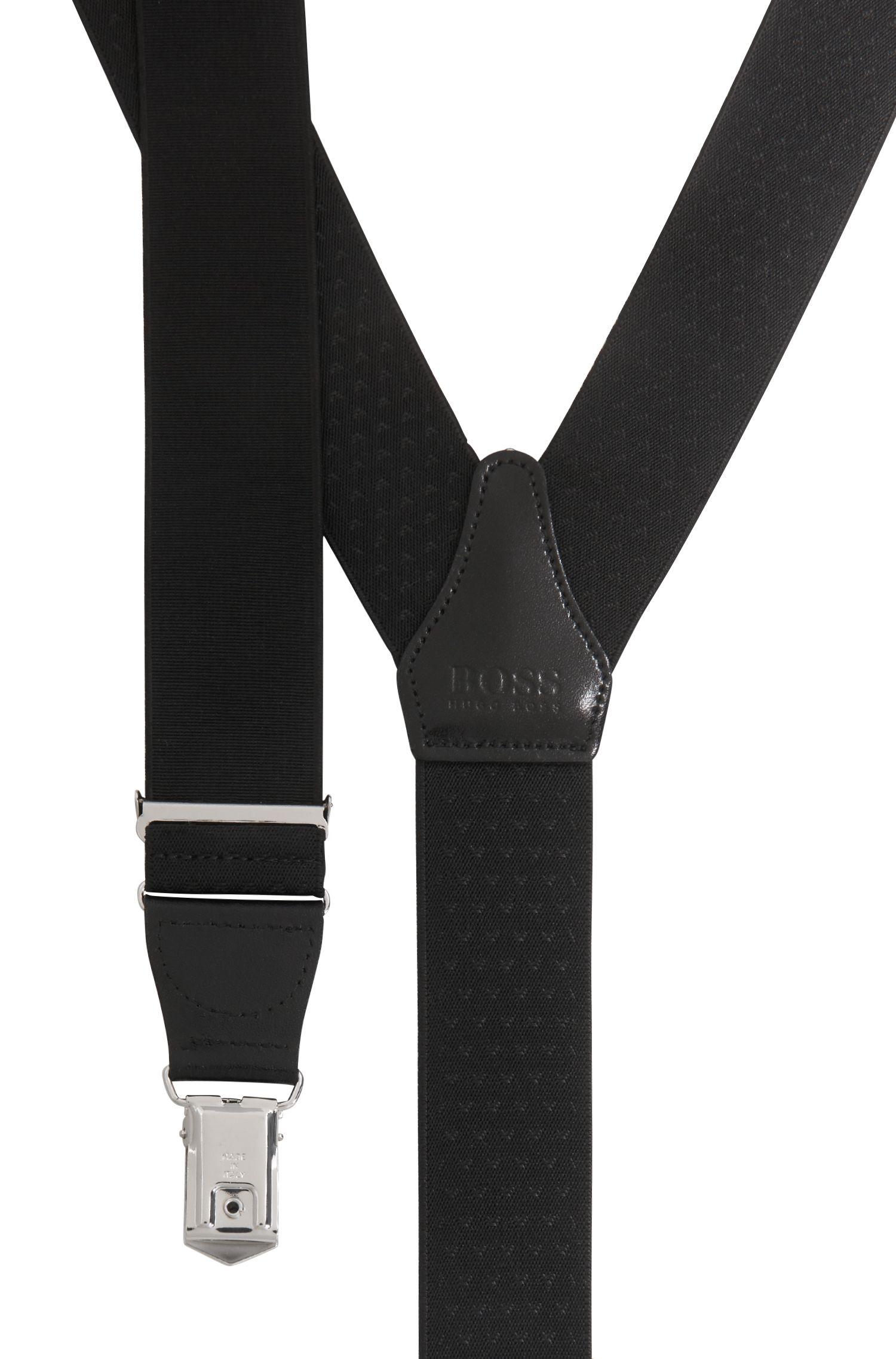 Hosenträger mit Clips und Leder-Besätzen , Schwarz