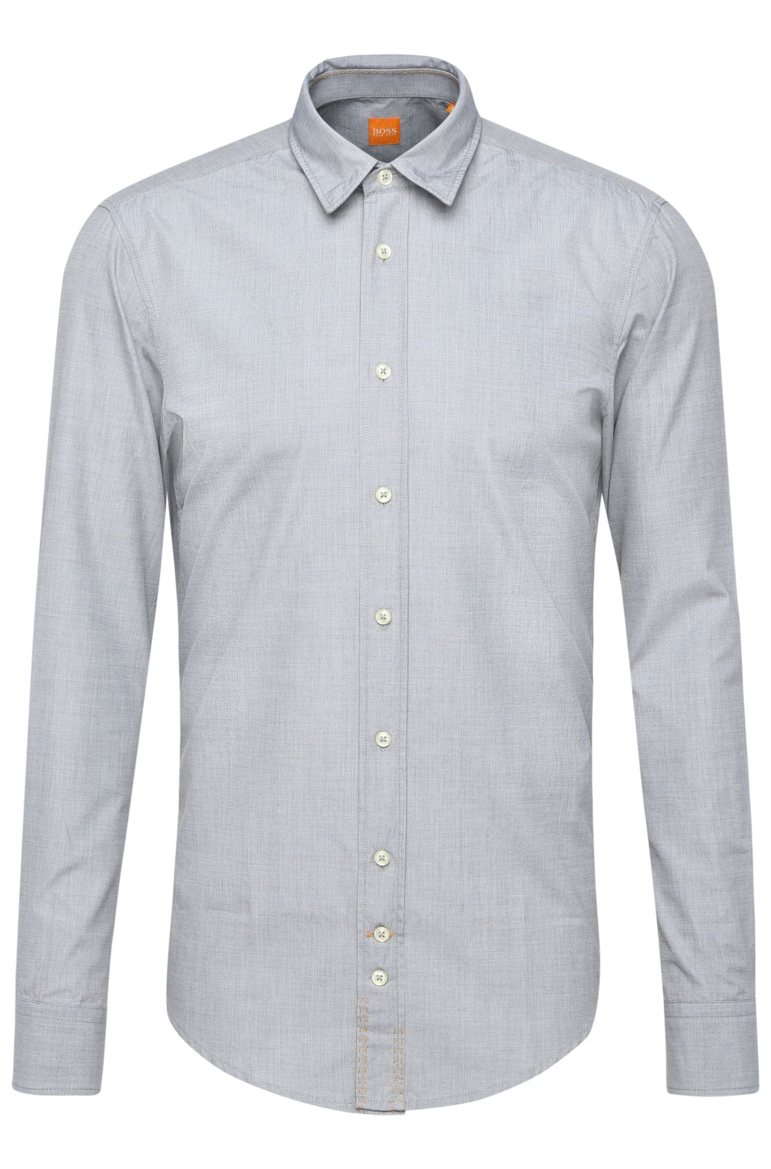 Regular-fit washed cotton shirt