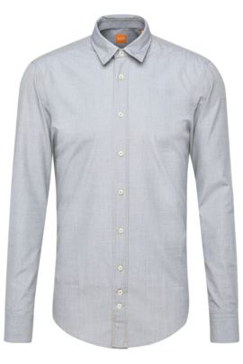 Regular-fit washed cotton shirt , Grey