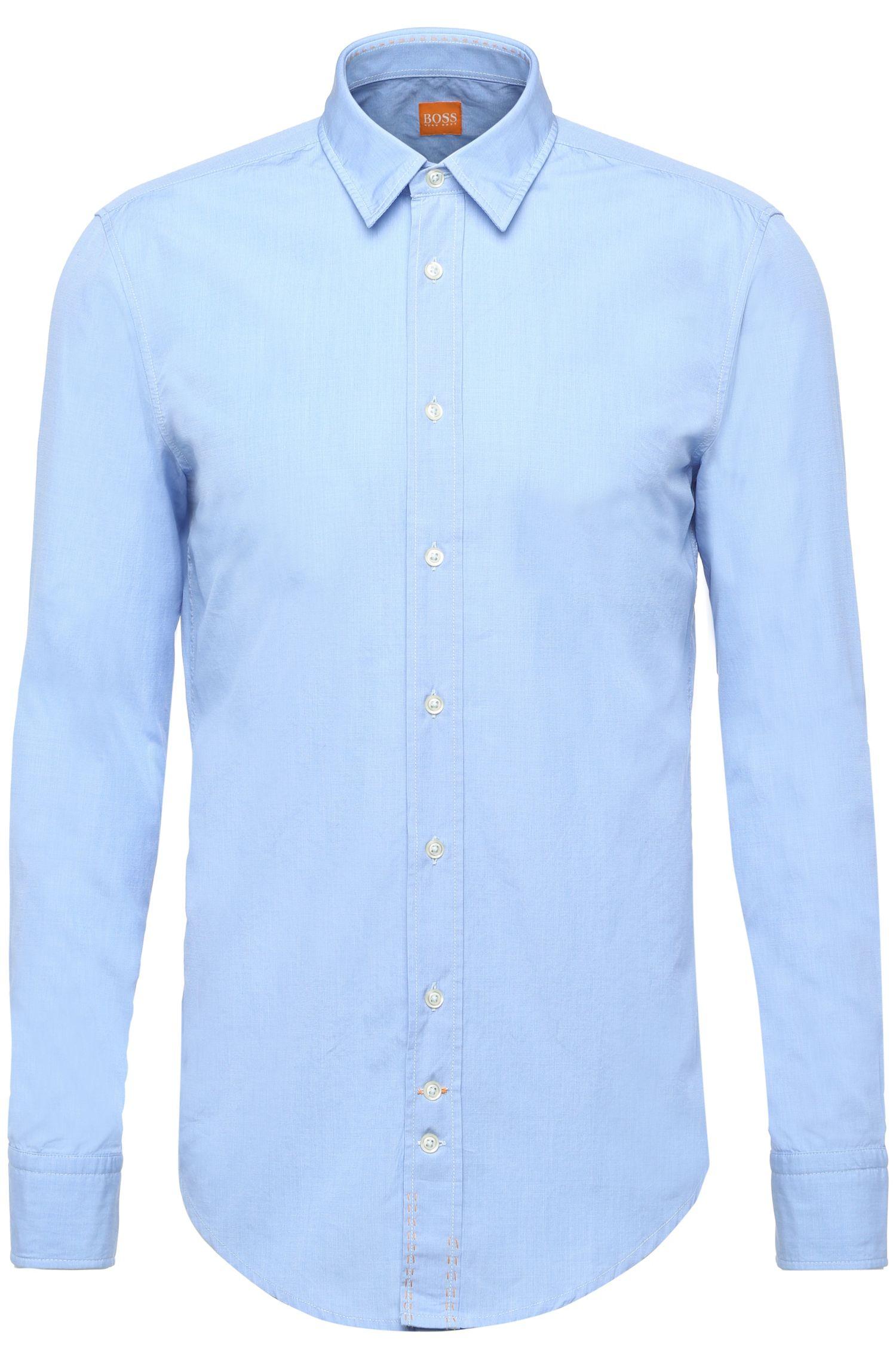 Chemise Regular Fit en coton lavé, Bleu vif