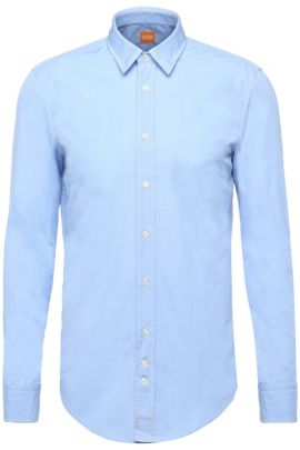 Regular-fit washed cotton shirt , Open Blue