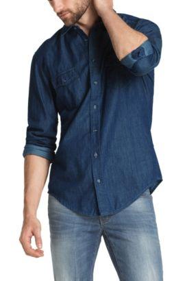 Chemise décontractée coupe Regular Fit «EddaieE» en denim, Bleu foncé