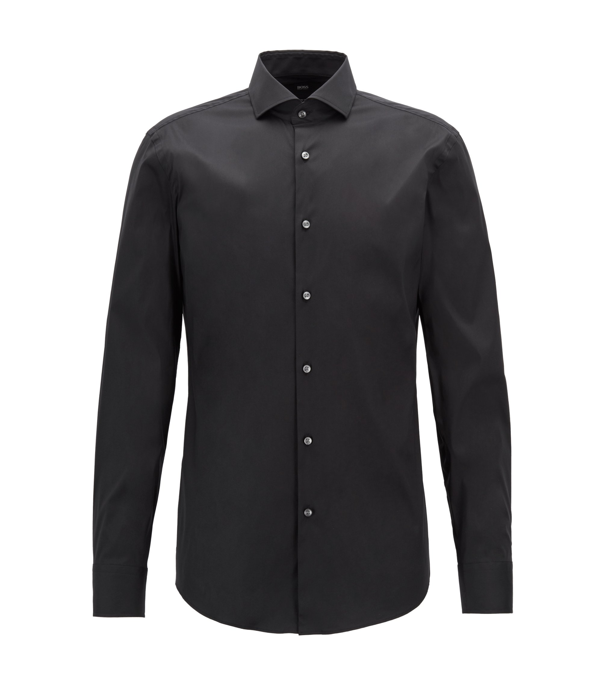 Slim-fit shirt in stretch poplin , Black