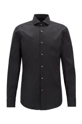 Slim-fit shirt in cotton-blend poplin with stretch, Black