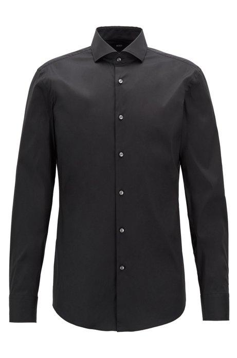 Slim-Fit Hemd aus Stretch-Popeline, Schwarz