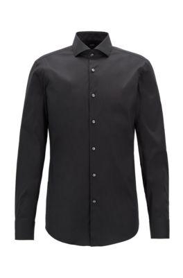 Slim-fit overhemd in een popeline van een katoenmix met stretch, Zwart