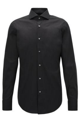 Slim-fit overhemd van popeline met stretch , Zwart