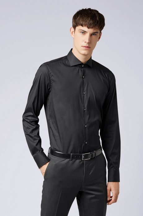Slim-Fit Hemd aus elastischem Baumwoll-Mix mit Popeline-Webstruktur, Schwarz