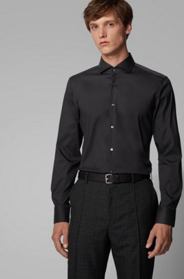 Slim-fit shirt in cotton-blend poplin with stretch, Black