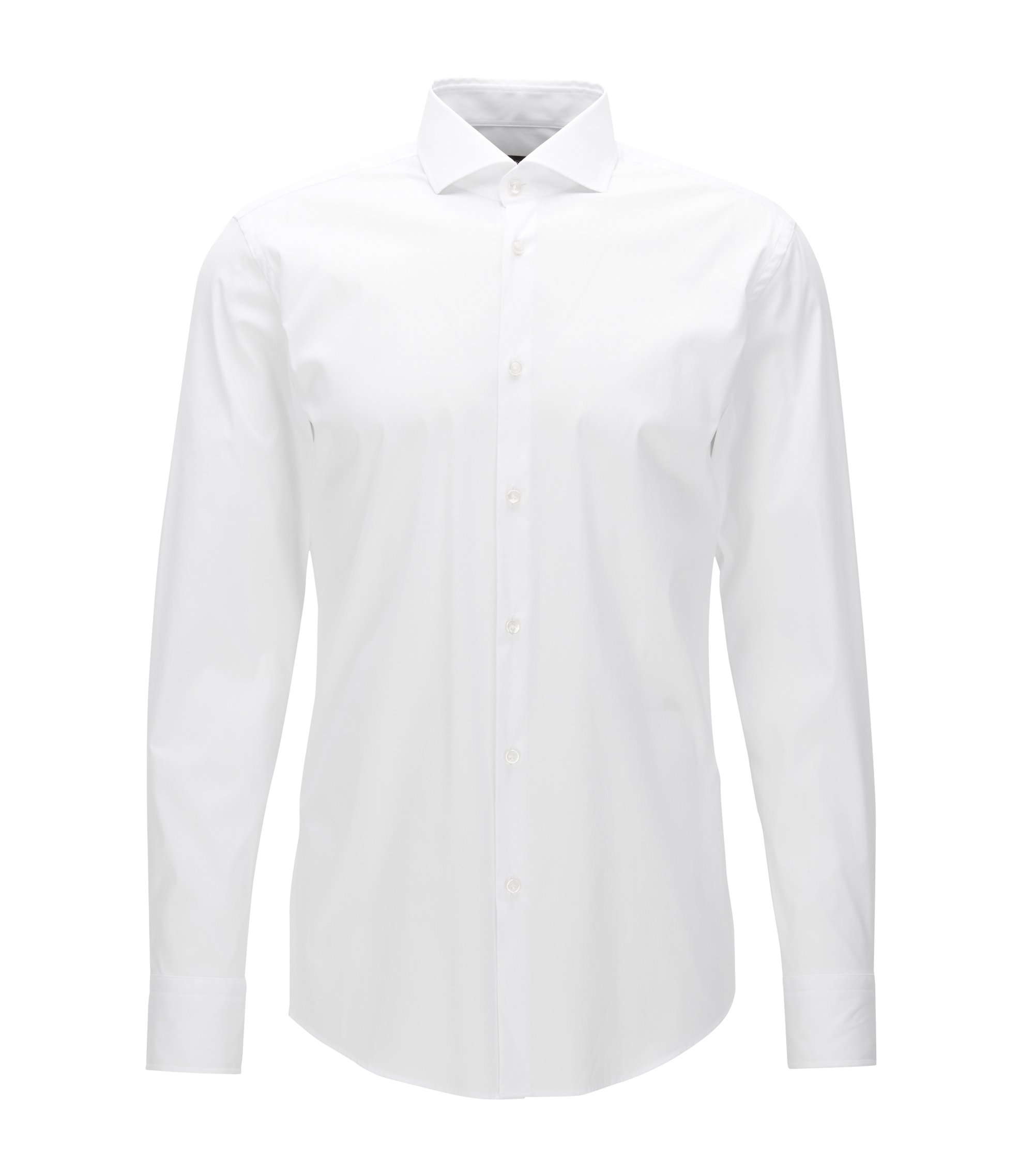 Chemise Slim Fit en popeline stretch , Blanc