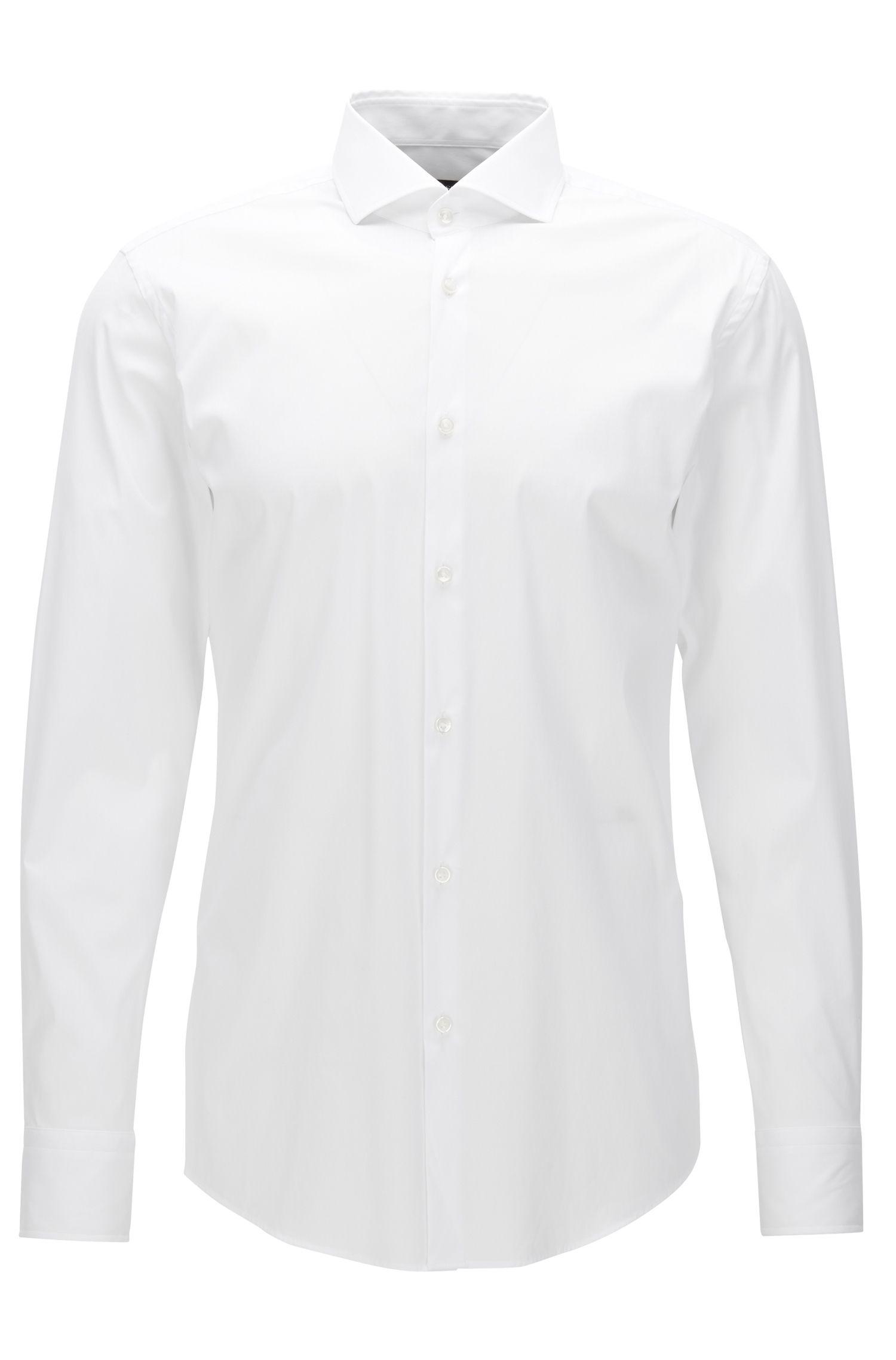 Camisa slim fit en popelín elástico , Blanco