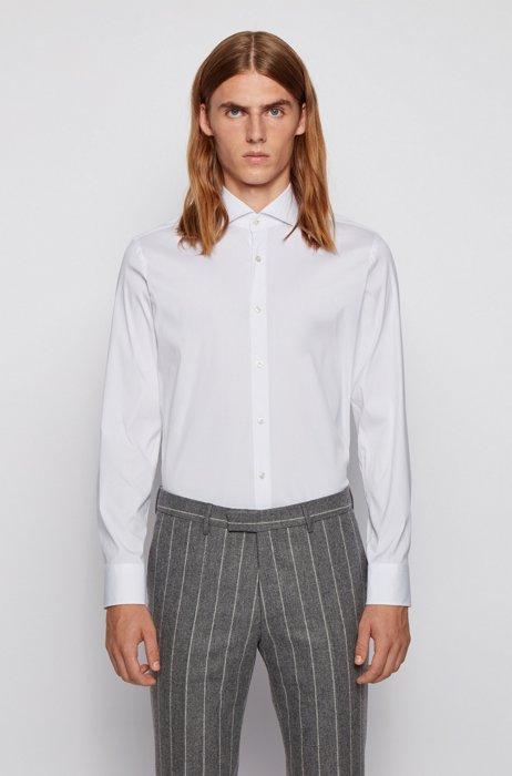 Slim-Fit Hemd aus elastischem Baumwoll-Mix mit Popeline-Webstruktur, Weiß