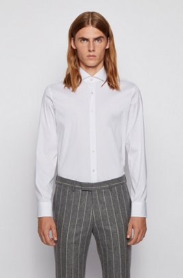 Slim-fit shirt in cotton-blend poplin with stretch, White