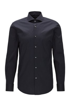 Slim-fit shirt in cotton-blend poplin with stretch, Dark Blue