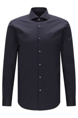 Slim-fit shirt in stretch poplin , Dark Blue