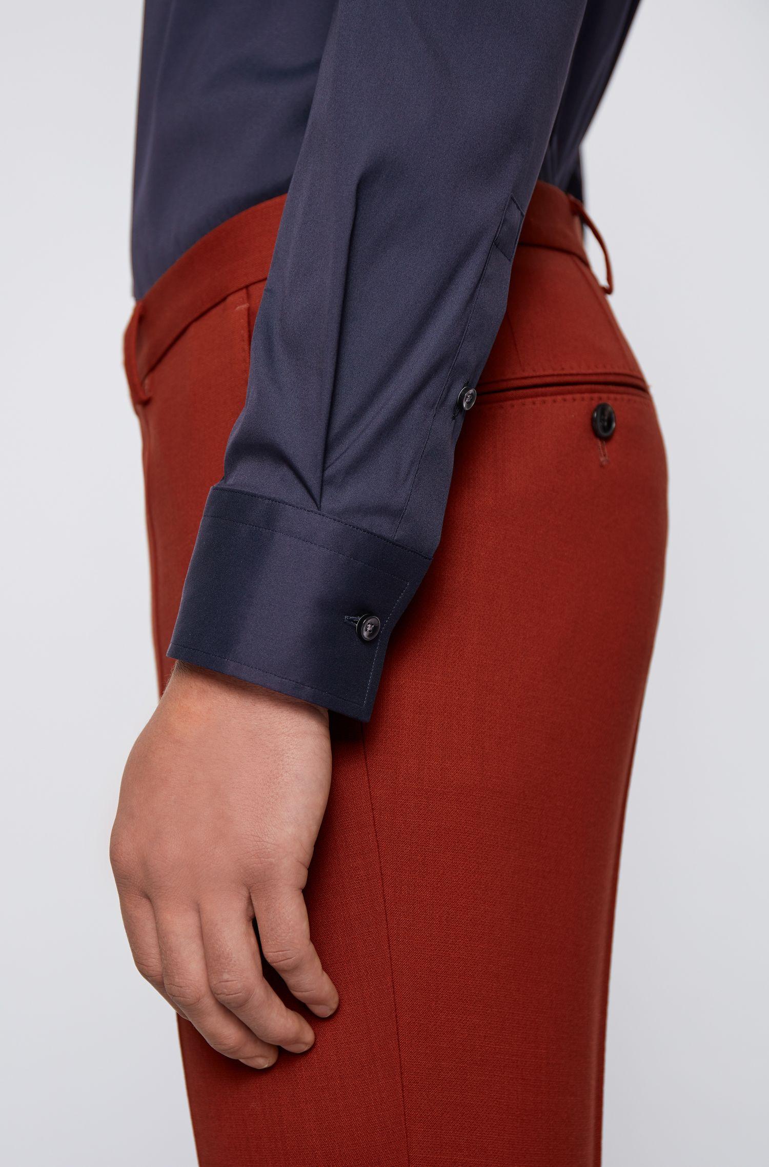 Slim-fit shirt in stretch poplin , Dark Blue